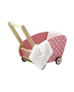 I'm Toy Poppenwagen, roze met witte stippen