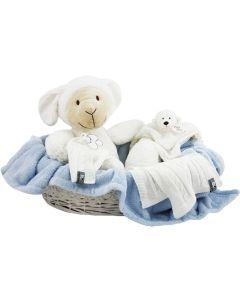 Lamb Lugano mand met zachte babydeken, lichtblauw