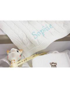 Sophie de giraf reiskoffer met gebreid speendoekje met naam