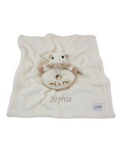 Sophie de Giraf Bio Rammelaar op knuffeldoekje met naam