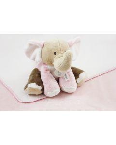 Sweet Elephant Gaby op katoenen babydeken