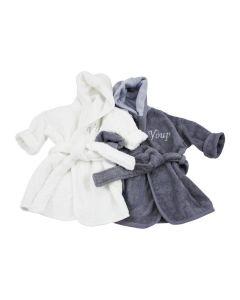 Badjasjes met naam wit/grijs 0 - 1 jaar