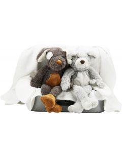 Tweelingkraamkoffer met 2 badcapes en knuffels