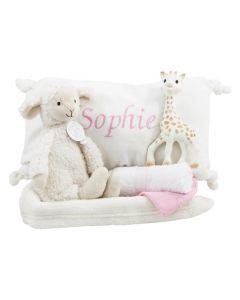 Vintage Lamb Leo op tray met Sophie de giraf, roze