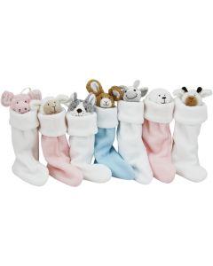 Xmas Baby's first stocking met rammelaar en monddoekje - roze kerstsok