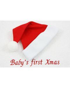 Xmas, Ivory Bear Boogy op monddoekje 'Baby's first Xmas'
