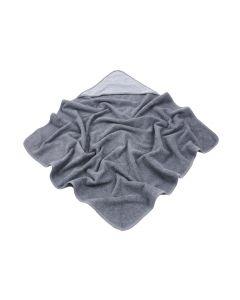 Badcape met naam geborduurd - antraciet/grijs