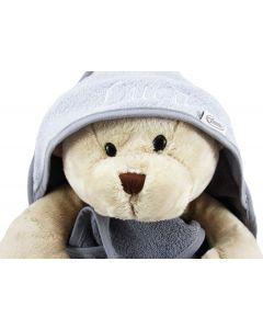 Badcape met knuffelbeer Buster - antraciet/grijs