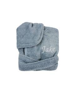 Badjas met naam geborduurd 0-1 jaar, blue grey