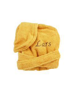 Badjas met naam geborduurd 1 -2 jaar, honey yellow