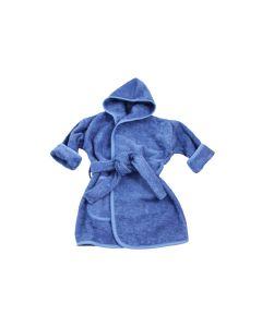 Badjas met naam geborduurd 1 - 2 jaar, silky blue