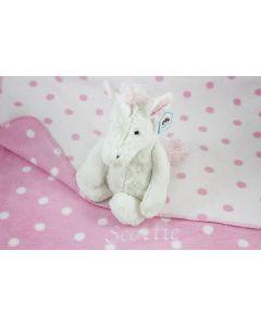 Bashful Unicorn op katoenen double faced babydeken, polka dot roze