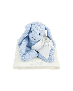 Gebreid konijn van Baby's Only op babydeken, lichtblauw