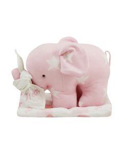 Gebreide olifant van Baby's Only op Lulujo swaddle, roze