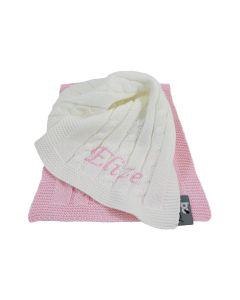 Gebreide spuuglapjes van Baby's Only, roze/wit - geen verzendkosten