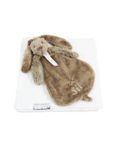 Clay Richie Rabbit tuttle op gebreide katoenen deken - wit