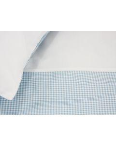 Babybeddengoed - Vichy dekbedovertrek met naam - lichtblauw/wit