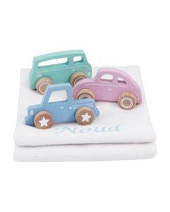 Little Dutch houten auto op katoenen babydeken, blauw, roze of mint