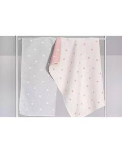 Tweelingcadeau, babydekens met hartjes - roze en/of grijs