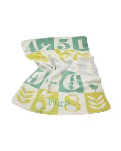Biologische katoenen babydeken met getallenprint, chartreuse / pale green