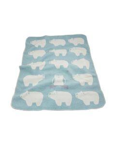 Katoenen babydeken met IJsberen, grijs-blauw