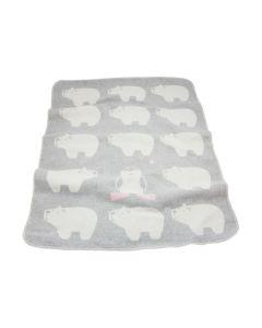 Katoenen babydeken met IJsberen, grijs/roze