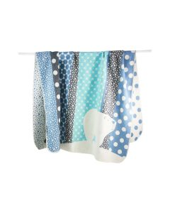 Katoenen babydeken met naam, multi color blue
