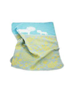 Jungle babydeken Leeuw met naam, aquamarine, grijs, ochre