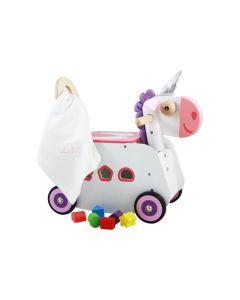 I'm Toy Loopwagen Eenhoorn met knuffeldoek