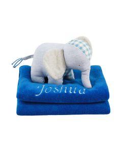 Elephant Energy knuffel op babydeken, blauw