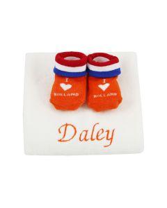 I love Holland slofjes op monddoekje, oranje, blauw/wit/rood - geen verzendkosten