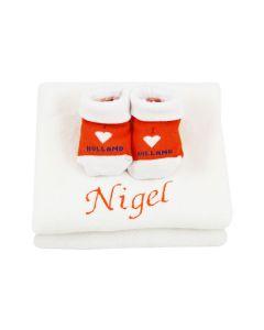 I love Holland slofjes op monddoekje, oranje/wit - geen verzendkosten
