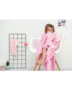 Kraamcadeau - Blenker Kid met borduurnaam - roze/wit