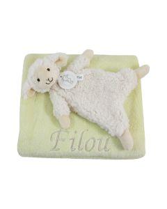 Vintage Lamb Leo tuttle op lentegroene babydeken