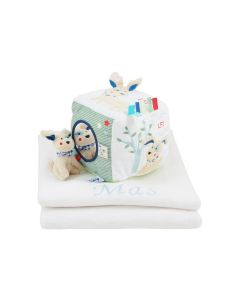 Babydeken met kubus To Go Friend van Lief, blauw