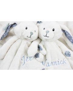 Tweeling knuffeltuttle konijn, adventure blue en/of mint