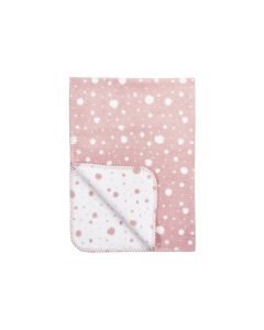 Katoenen Polka Dot double faced deken - oudroze/wit