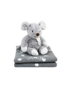 Mouse Missy op katoenen babydeken, grey polka dot