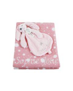 Pink Rabbit Richie tuttle op katoenen polka dot babydeken, oudroze