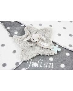 Katoenen Polka Dot deken met Rabbit Rockey tuttle  - grijs/wit