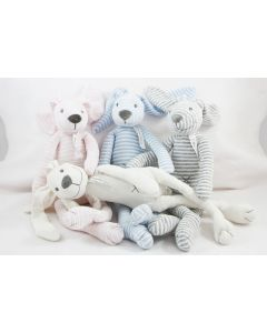 Rabbit Reece op tray, roze, lichtblauw, lichtgrijs of ivory linen