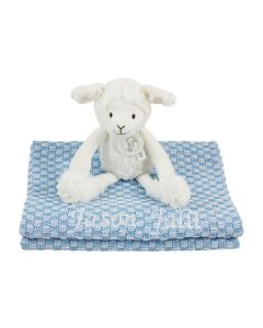 Sheep Skyler op gebreide babydeken, lichtblauw