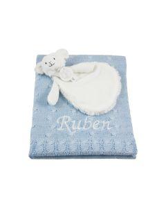 Sheep Skyler Tuttle op gebreide babydeken, lichtblauw