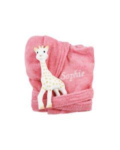 Sophie de Giraf op badjasje 0-1 jaar, coral pink