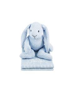 Ton sur ton - Baby's Only gebreide Rabbit op gebreide deken, lichtblauw