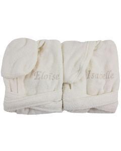 Tweeling badjasjes met naam 0 - 1 jaar, diverse kleuren