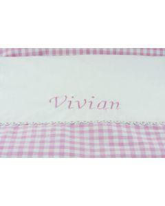 Ledikant dekbedovertrek, Vichy-ruit roze